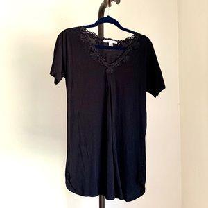 Oscar de la Renta Black Embroidered Tunic Top XS